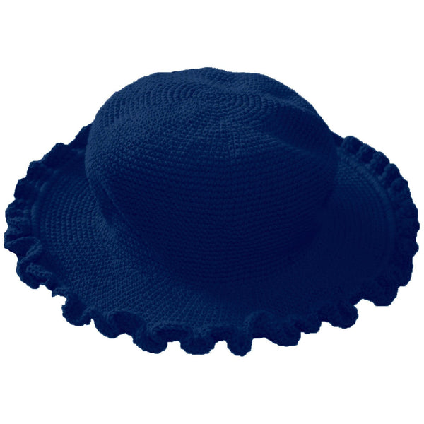 Ruffled Brim Hat - Hand Crocheted - Dark Denim