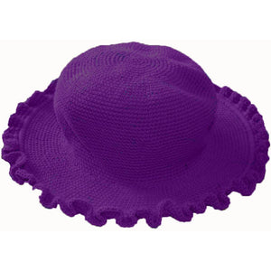 Ruffled Brim Hat - Hand Crocheted - Grape