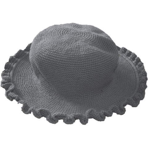 Ruffled Brim Hat - Hand Crocheted - Gray