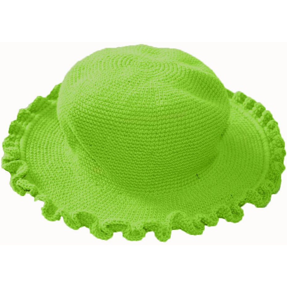 Ruffled Brim Hat - Hand Crocheted - Green Apple