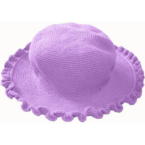 Ruffled Brim Hat - Hand Crocheted - Lavender