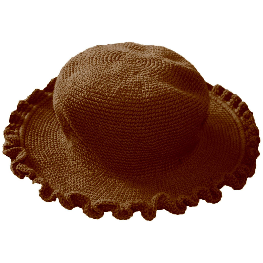 Ruffled Brim Hat - Hand Crocheted - Milk Chocolate