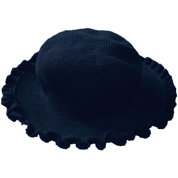 Ruffled Brim Hat - Hand Crocheted - Navy