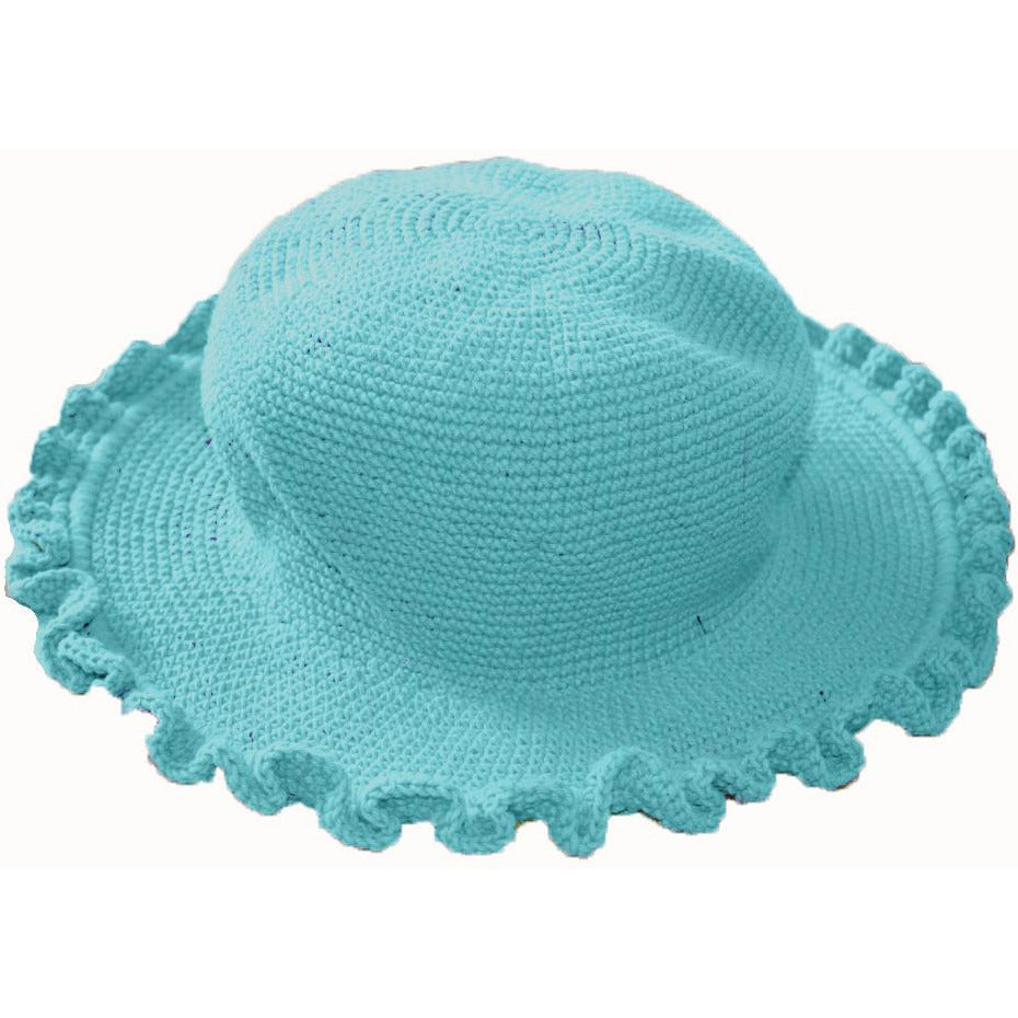 Ruffled Brim Hat - Hand Crocheted - Pool