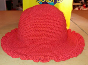 Ruffled Brim Hat - Hand Crocheted - Red