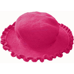 Ruffled Brim Hat - Hand Crocheted - Rose Pink