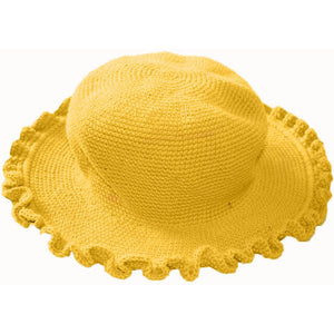 Ruffled Brim Hat - Hand Crocheted - Sunshine Yellow