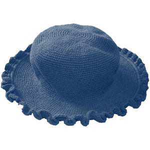 Ruffled Brim Hat - Hand Crocheted - Vintage Blue