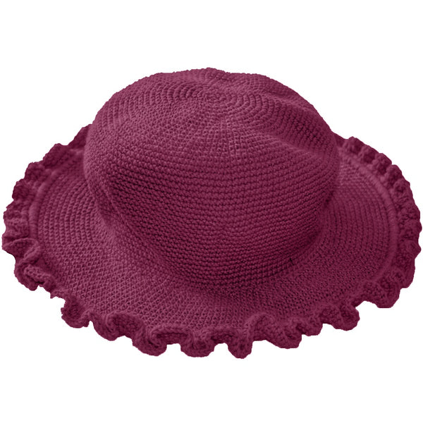 Ruffled Brim Hat - Hand Crocheted - Violet