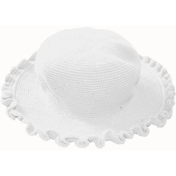 Ruffled Brim Hat - Hand Crocheted - White