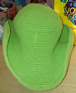 Cowboy Hat - Hand Crocheted - Green Apple