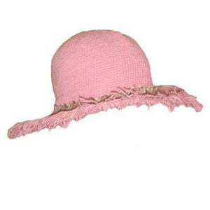 Beach Fringe Brim Hat with Seashells - Cotton Candy