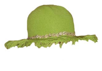 Beach Fringe Brim Hat with Seashells - Kiwi