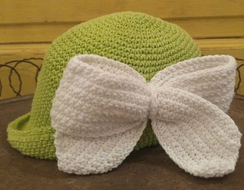 Crocheted Bow Hat with White Bow