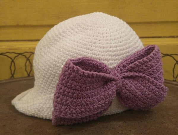 Crocheted Bow Hat White with Colored Bow