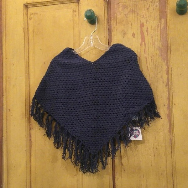 Crocheted Solid Color Poncho