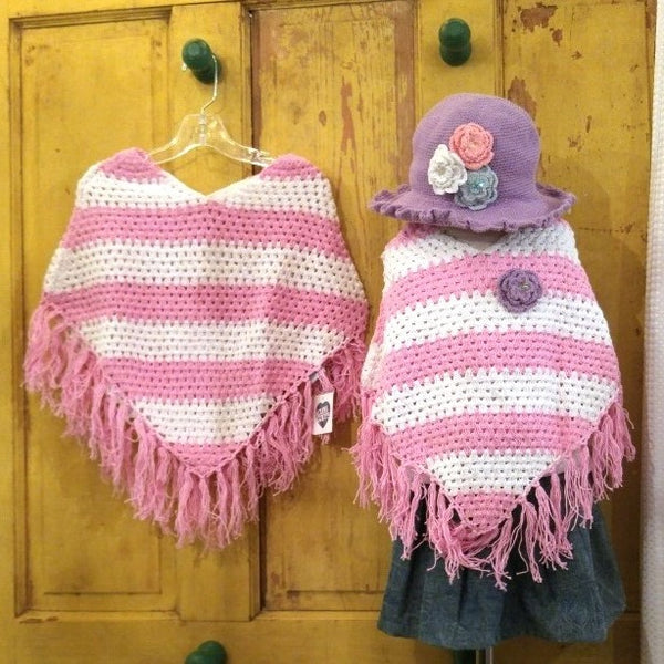 Crocheted Stripe Poncho