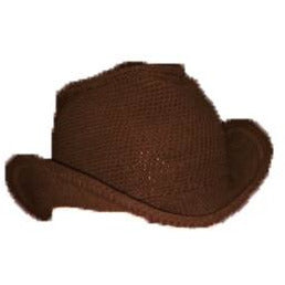 Western Cowboy Hat - Hand Crocheted - Dark Chocolate