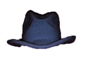 Western Cowboy Hat - Hand Crocheted - Dark Denim