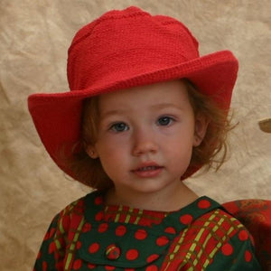 Cowboy Hat - Hand Crocheted - Red