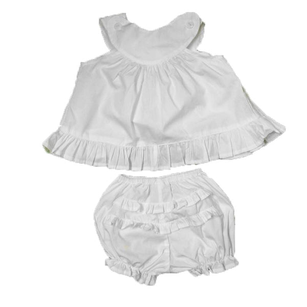 Ruffled Yoke 2 pc Solid Dress Set