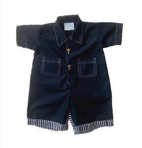 Camp Shirt Romper w/pocket - solid