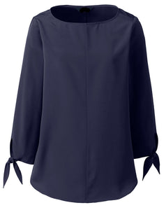 Tie Sleeve Blouse - Navy