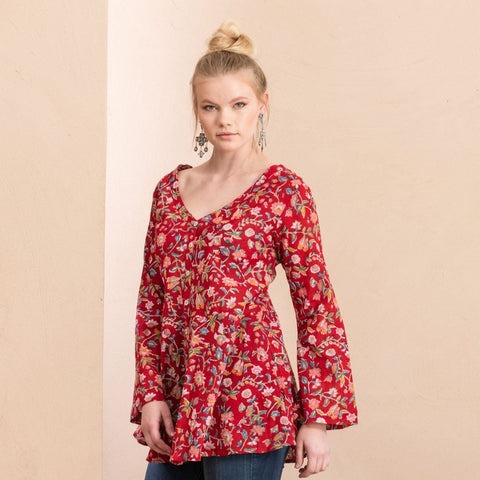 Peplum Jacket - Wildflower Red
