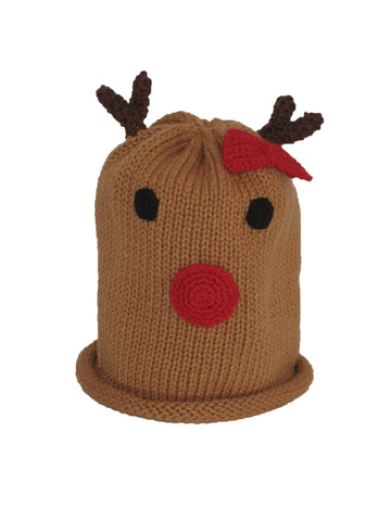 Reindeer Hat with Red Bow