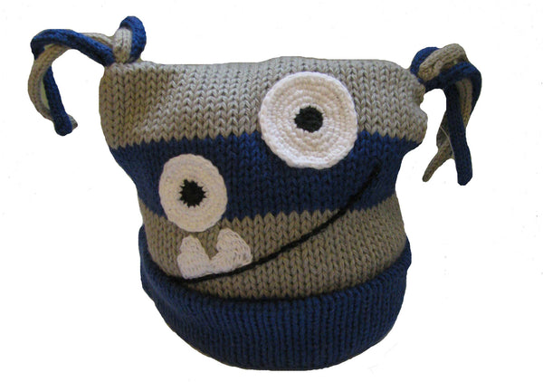 2 Eyed Monster Hat (royal & gray) 1