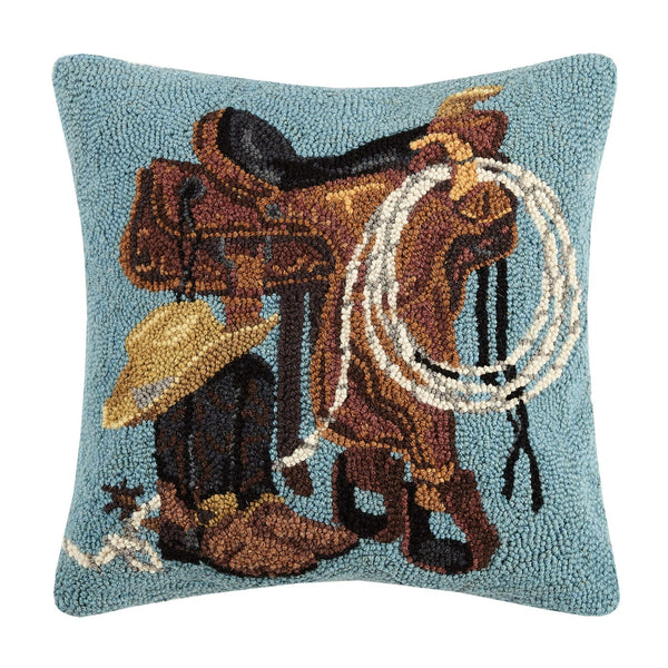 Western Boots, Saddles & Roping Hand Hooked Pillow