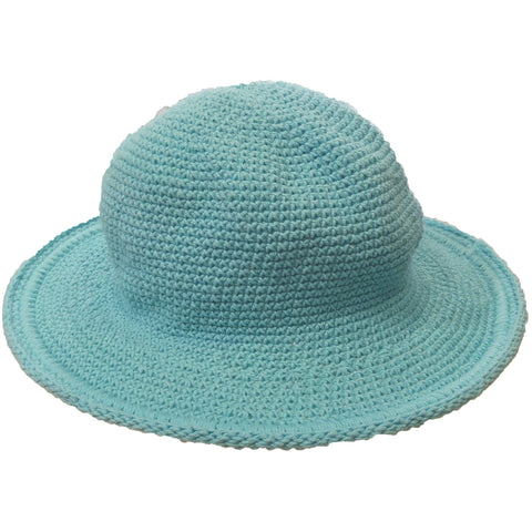 Original Brim Hat - Hand Crocheted - Pool