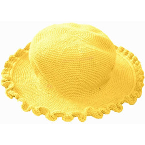 Ruffled Brim Hat - Hand Crocheted - Banana