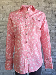 Women's Pink Bison Print Snap Front Shirt