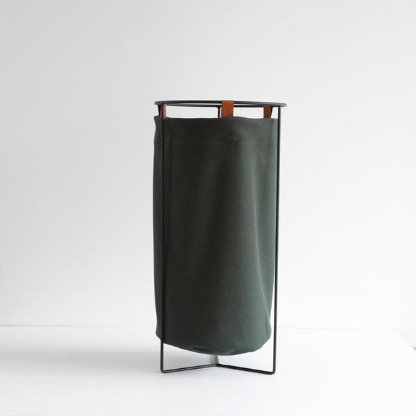 Laundry Basket - Kawakawa Green with Tan Leather