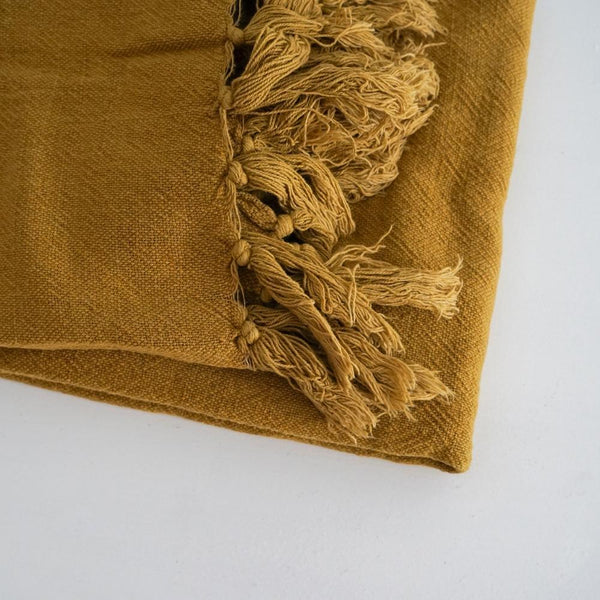 Indira Linen Throw Ochre