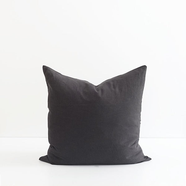 A&C Flax Linen Euro Pillowcase - Dark Charcoal