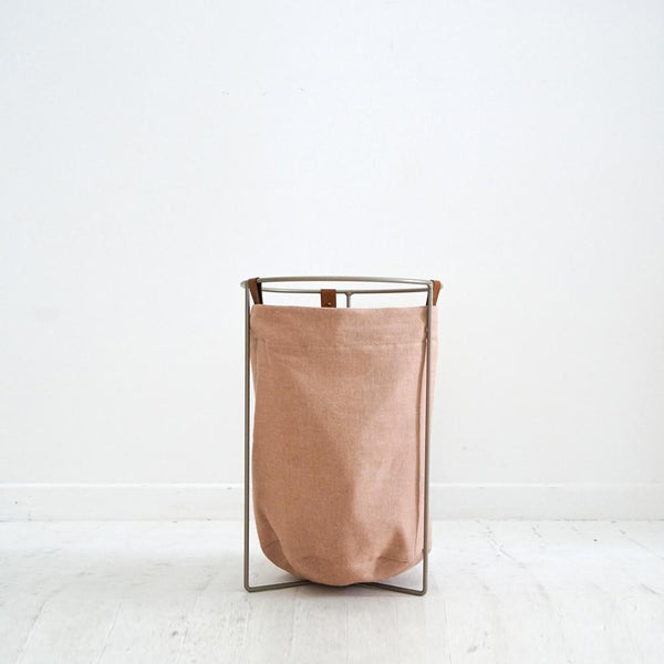 Laundry Basket - Blush with Tan Leather