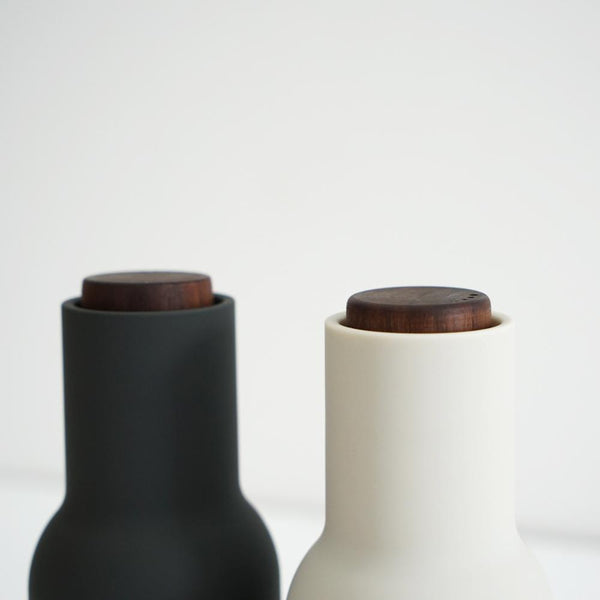 MENU Salt & Pepper Grinders - Ash and Carbon (Walnut Lid)