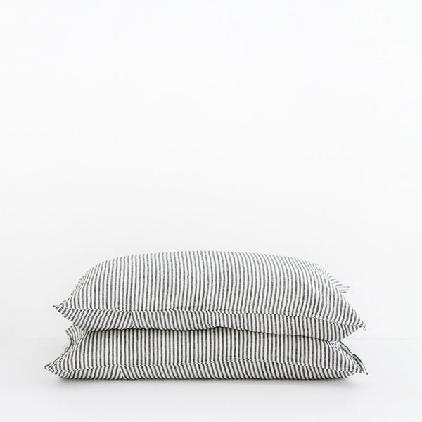 A&C Flax Linen Pillowcases - Charcoal Stripe