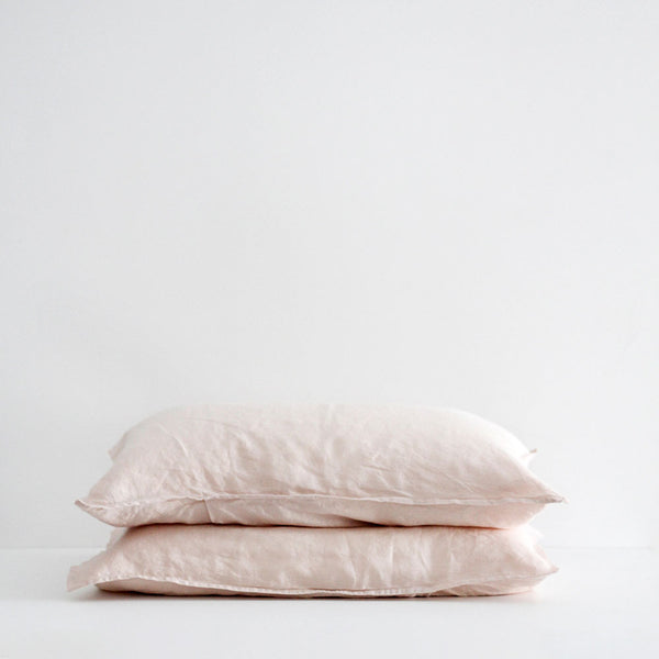 A&C Flax Linen Pillowcases - Dusky Pink
