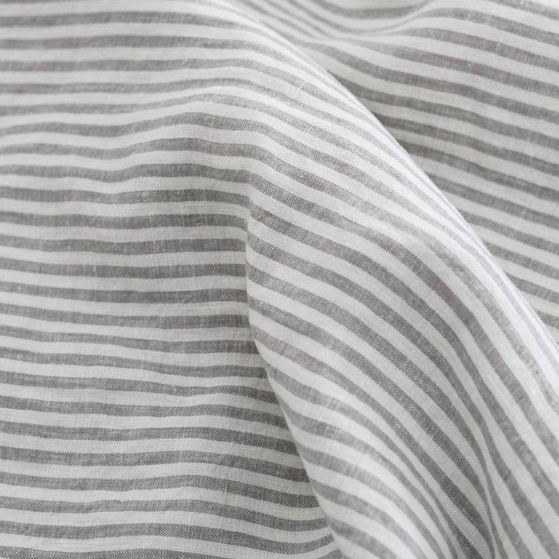 A&C Flax Linen Duvet Cover King Single - Stripe Grey