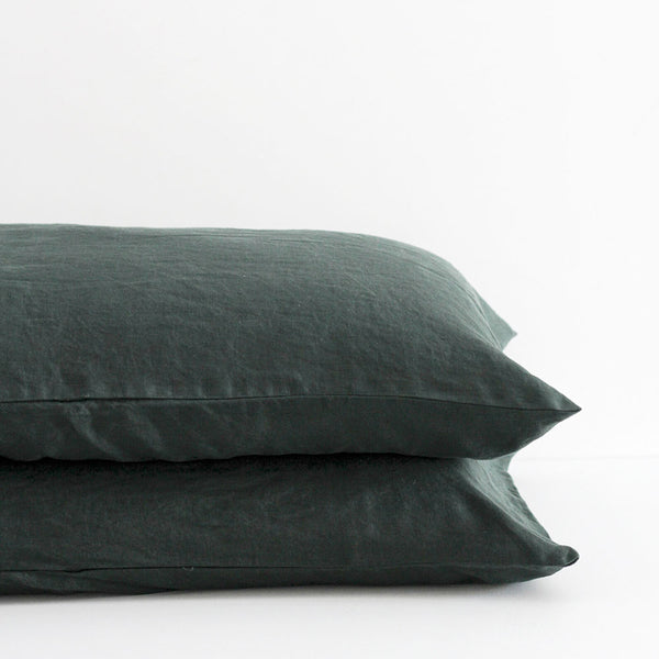 A&C Flax Linen Pillowcases - Hunting Green