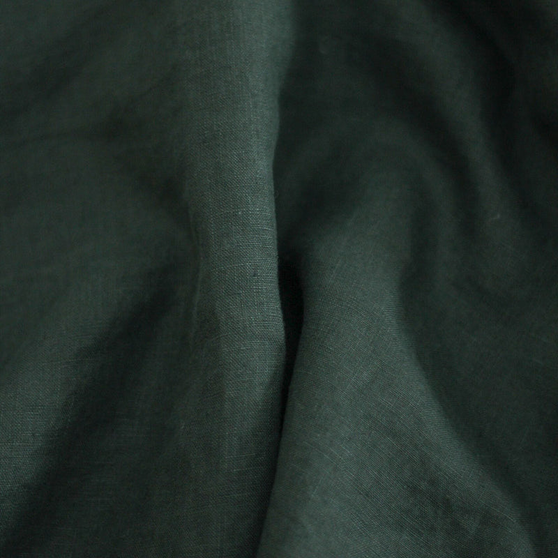 A&C Flax Linen Duvet Cover King Single - Hunting Green