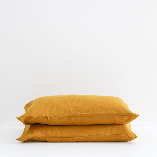 A&C Flax Linen Pillowcases - Marigold
