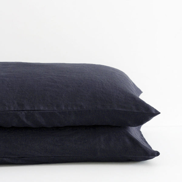 A&C Flax Linen Pillowcases - Midnight Navy