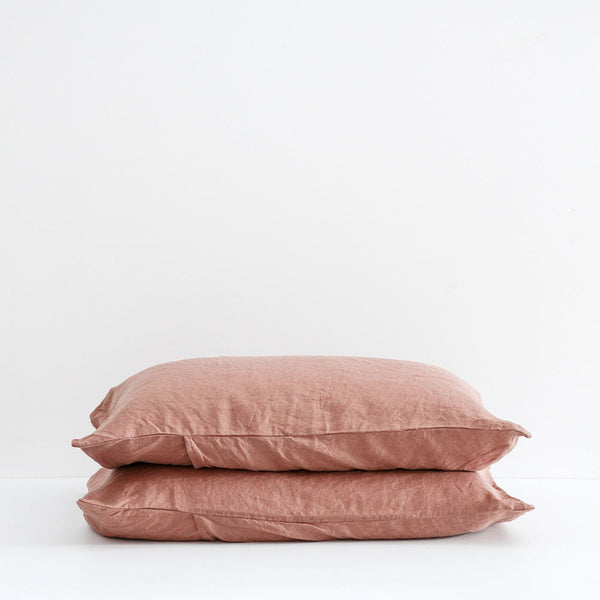 A&C Flax Linen Pillowcases - Moss Rose