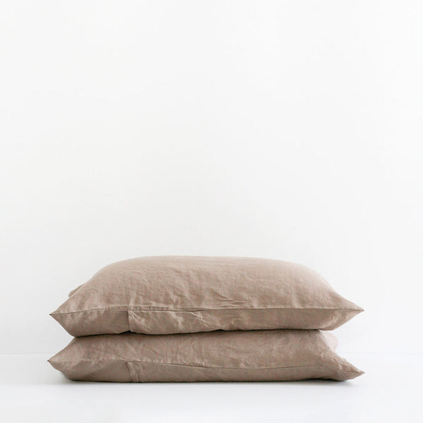 A&C Flax Linen Pillowcases - Nutmeg