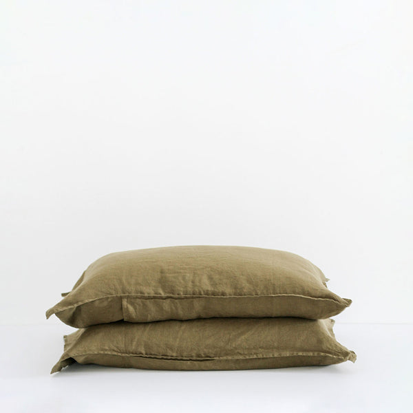 A&C Flax Linen Pillowcases - Olive Green