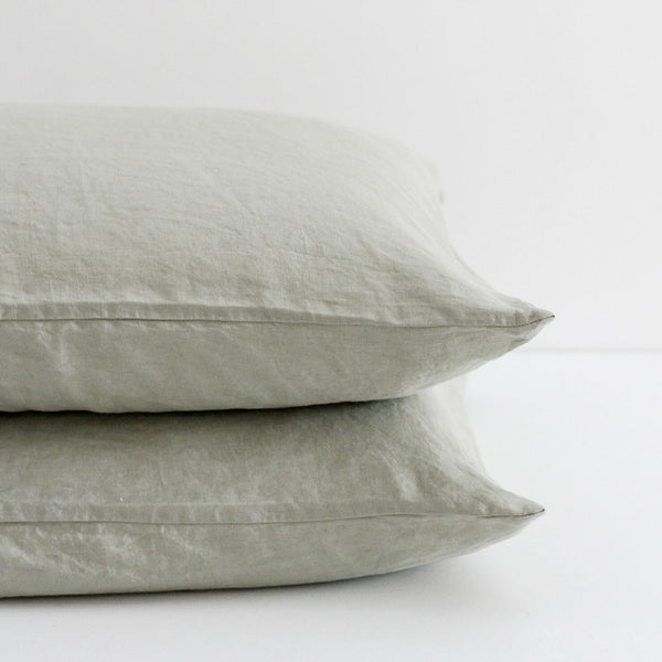 A&C Flax Linen Pillowcases - Sage